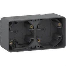 SCHNEIDER ELECTRIC MUR37914 Caja doble MUREVA STYL gris para instalación en superficie horizontal (IP55)