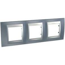 SCHNEIDER ELECTRIC U66.006.097 Marco serie ÚNICA TOP con 3 elementos horizontales gris aluminio