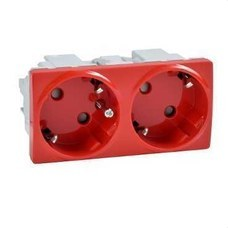 SCHNEIDER ELECTRIC U3.067.03 Base doble con TT lateral 10/16A 250V UNICA SYSTEM rojo