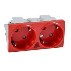 SCHNEIDER ELECTRIC U3.067.03S Base doble 2P + TT lateral 16A 250V piloto UNICA rojo