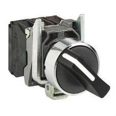 SCHNEIDER ELECTRIC XB4BD25 Selector diámetro 22 maneta corta negro 1 NA 2 fijaciones embellecedor metálico