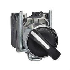 SCHNEIDER ELECTRIC XB4BD33 Selector diámetro 22 maneta corta negro 2 NA 3 fijaciones embellecedor metálico
