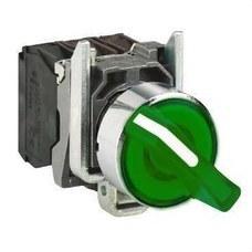 SCHNEIDER ELECTRIC XB4BK123B5 Selector LED diámetro 22 24V con maneta verde embellecedor metálico