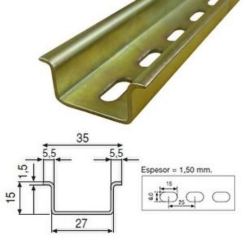Perfil omega reforzado perforado zincado
