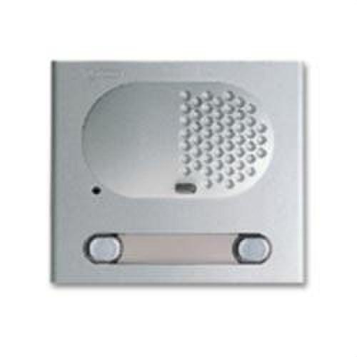 Módulo rejilla audio 2 pulsadores aluminio