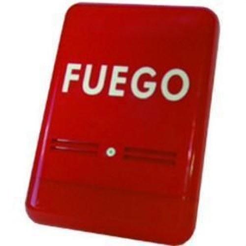 Sirena S-Fuego instalación exterior rojo rotulado fuego