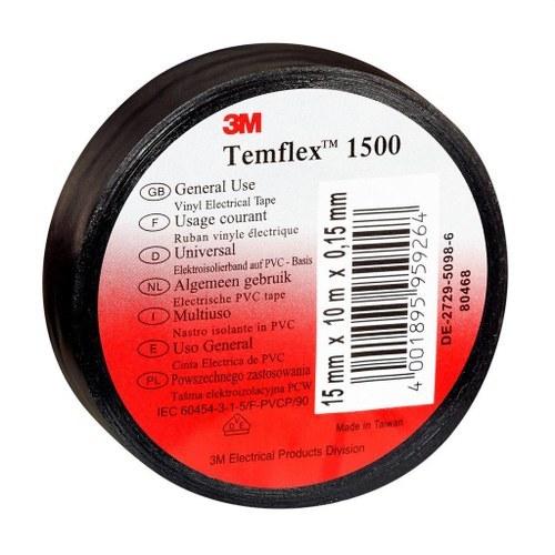 Cinta Temflex 1500 19mmx20m PVC negro 0,15m