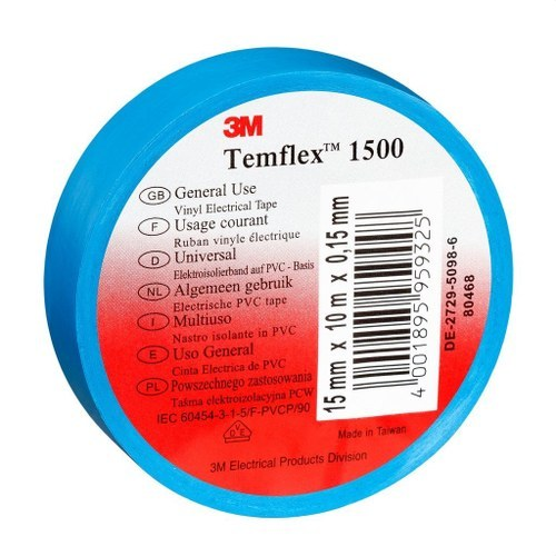 Cinta Temflex 1500 19mmx20m PVC azul rollo