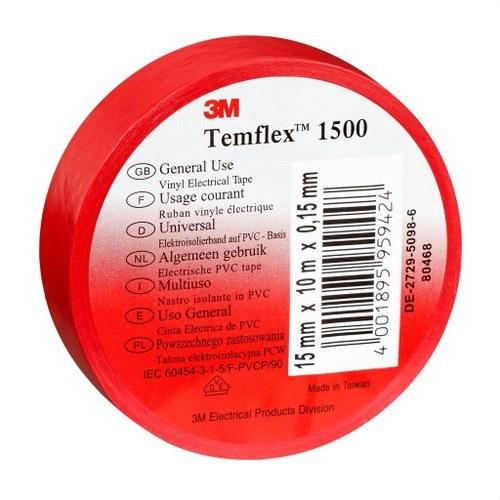 Cinta Temflex 1500 19mmx20m PVC rojo rollo