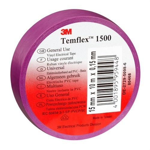 Cinta Temflex 1500 19mmx20m PVC violeta rollo