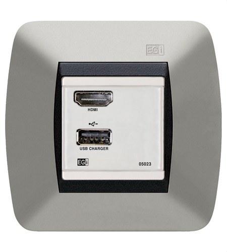 Módulo HDMI FULL HD H-H USB cargador blanco