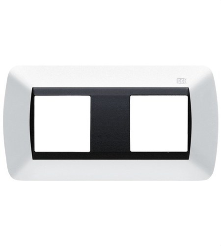 Embellecedor 2 módulo para caja universal blanco nieve
