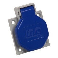 IDE 00102 Base empotrar IP44 2 polos + toma tierra lateral 250V 16A de color azul