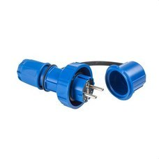 IDE 00114 Clavija Schuko IP67 2 polos + toma tierra 220/230V 16A de color azul