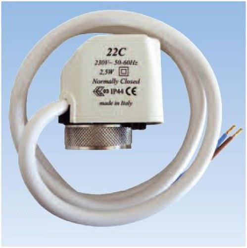 Actuador electrotérmico normalmente cerrado con 4 hilos 100N 230V IP54 de diseño compacto y accionamiento on/off