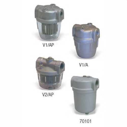 Filtro en línea para gasóleo serie 70450, cartucho liso en tela en ox con tapa y cubeta en aluminio 100µ acoplamientos de 3/8