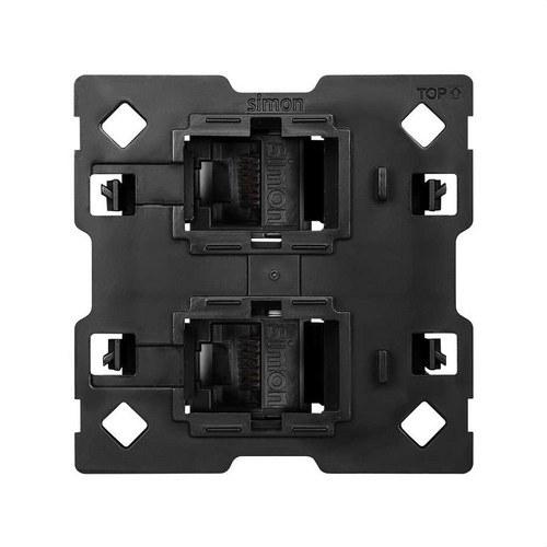 Adaptador Simon 100 para 2 conectores RJ45 2 módulos