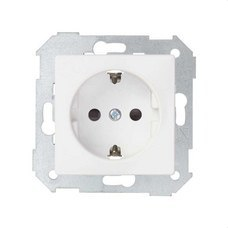 SIMON 8200432-090 Base de enchufe SIMON 82 schuko con embornamiento tornillo+tapa 16A blanco mate
