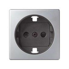 SIMON 82041-33 Tapa enchufe 2P+toma tierra lateral+seguridad Simon 82 aluminio