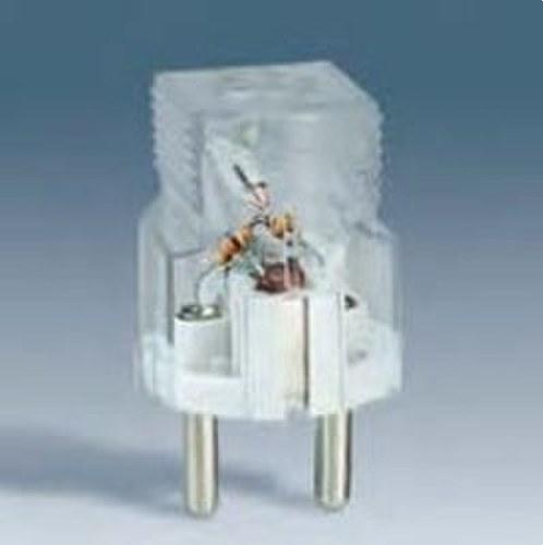 Clavija de enchufe 2 polos+Toma de tierra lateral Schuko 16A 250V bipolar transparente con indicador luminoso de tensión