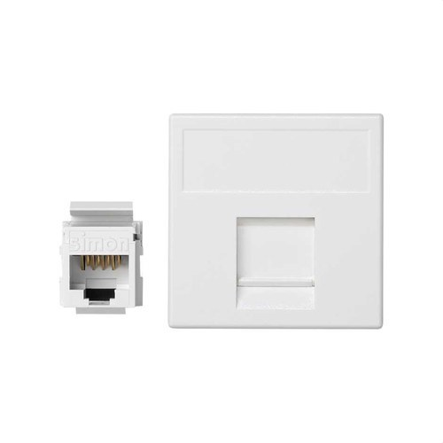Placa K45 guardapolvo 1 RJ45 categoria 5E UTP blanco nieve