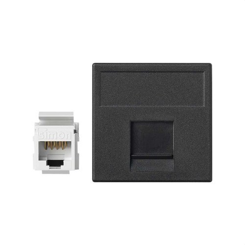 Placa K45 guardapolvo 1 RJ45 categoria 6 UTP gris grafito