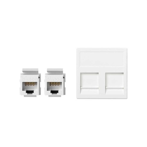 Placa K45 guardapolvo 2 RJ45 categoria 6 UTP blanco nieve