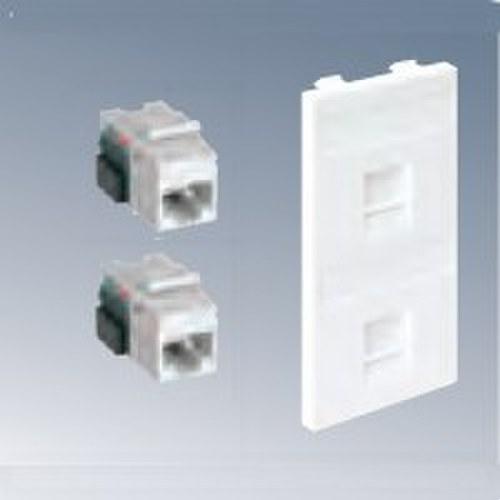 Placa CIMA V-D con 2 conectores categoria 6 UTP blanco nieve