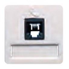 BJC 17082 Toma teléfono conector H 6 vías RJ11 en blanco tapa ancha, emborne por tornillos