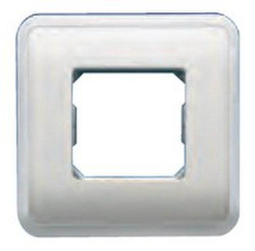 Placa con bastidor + marco 1 ancho/ 2 estrechos de color blanco
