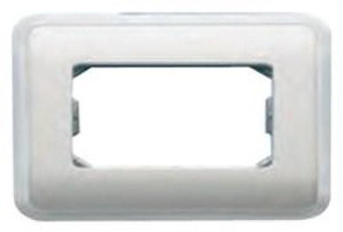 Placa con bastidor + marco 2 anchos/ 1 estrecho de color beige