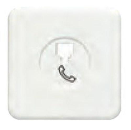 Placa toma teléfono 6 vías conector hembra serie Ibiza en blanco