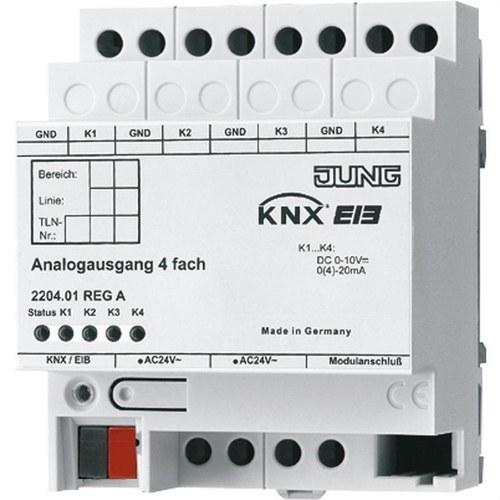 Salida analógica KNX 4 canales DIN 4 módulos