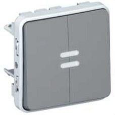 LEGRAND 069526 Conmutador doble luminoso E/S plexo gris
