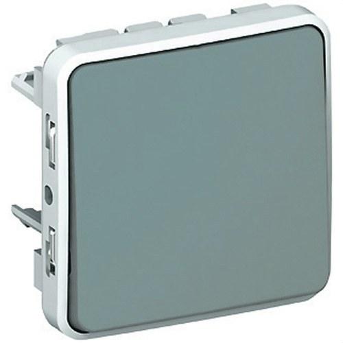 Pulsador 10A E/S plexo gris