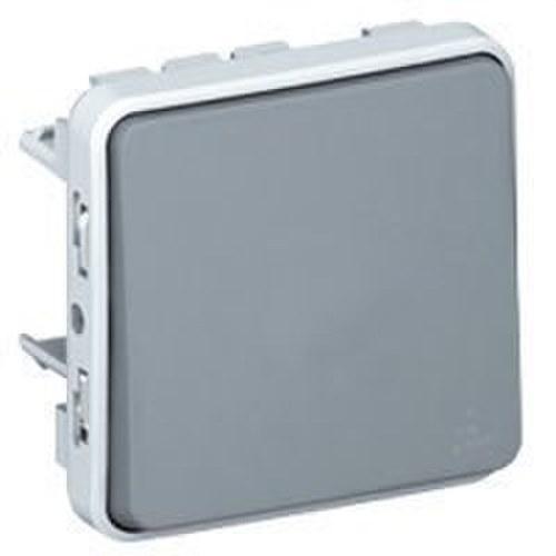 Pulsador contacto abierto + contacto cerrado 10A E/S plexo gris