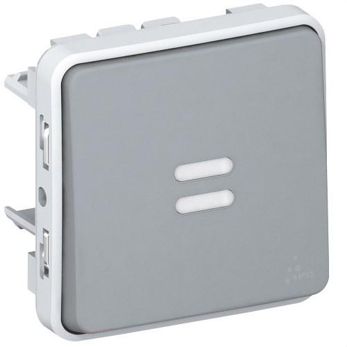 Pulsador luminoso E/S plexo gris
