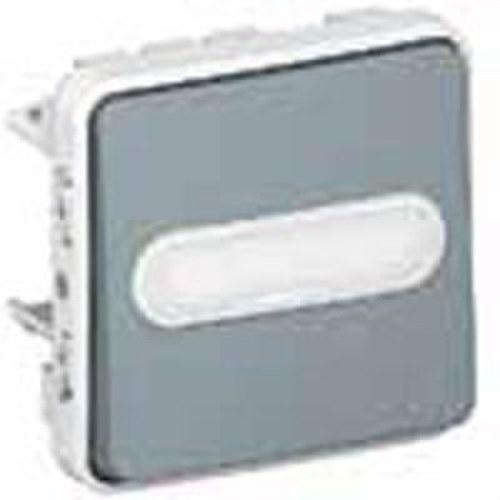 Pulsador contacto abierto + contacto cerrado etiqueta E/S plexo gris