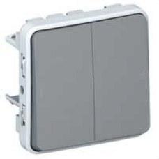 LEGRAND 069545 Pulsador doble E/S plexo gris