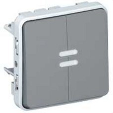 LEGRAND 069546 Pulsador doble luminoso E/S plexo gris
