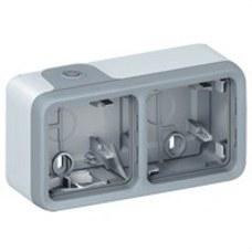 LEGRAND 069672 Caja superficie horizontal plexo 2 posiciones gris