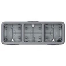 LEGRAND 069680 Caja superficie horizontal 3 posiciones plexo gris