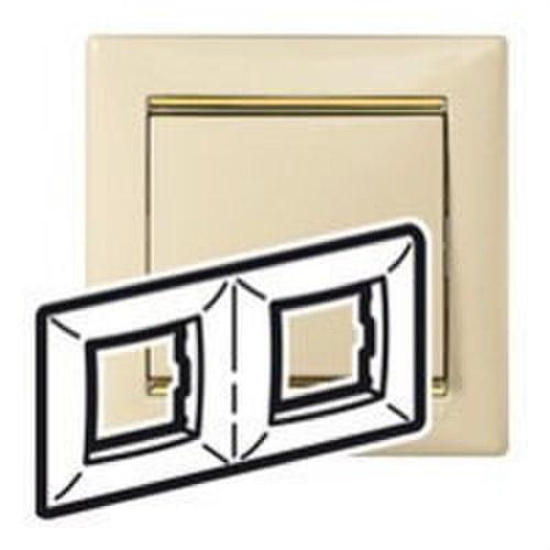 Placa 2 elementos horizontal marfil/oro