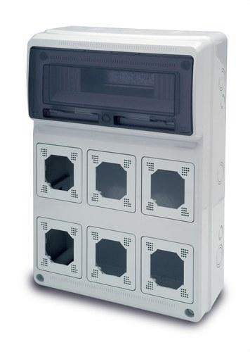Caja 506x330x130 13 elemento 6 módulos Acqua Combi IP65