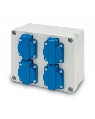 Caja IP55 libre de halógenos 4 bases 2P TT lateral 10/16A