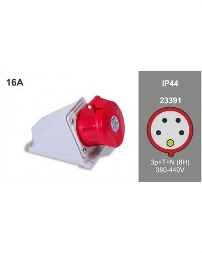 BASE PARED 3P+N+T 16A 400V IP44