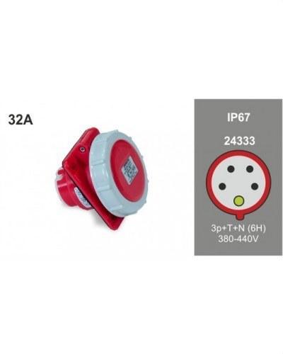 BASE INCLINADA 10° 3P+N+T 32A 400V IP67 80X95