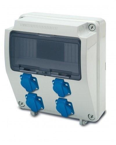 Caja 9 elementos 4 tomas 2P+TT lateral 16A 250V