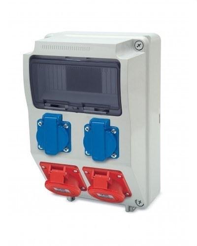 Caja 2 toma 380V 2P+TT lateral 16A 250V-2 toma 3P+T+neutro