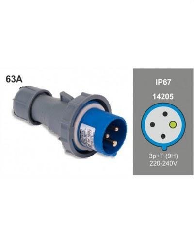 Clavija IP-67 serie 10 63A 230V 2P+T 6 horas